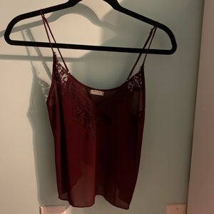 red lacey cropped tank from Free People